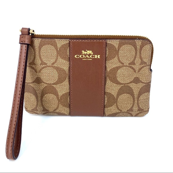Coach Corner Zip Wristlet Signature Canvas Brown